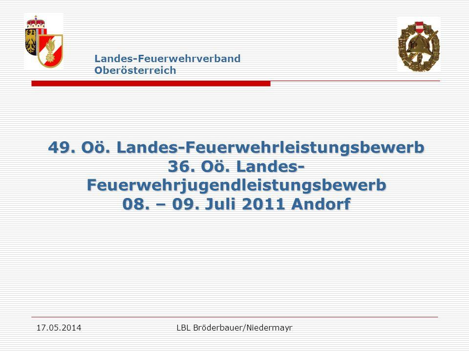 17.05.2014LBL Bröderbauer/Niedermayr Landes-Feuerwehrverband Oberösterreich 49. Oö. Landes-Feuerwehrleistungsbewerb 36. Oö. Landes- Feuerwehrjugendlei