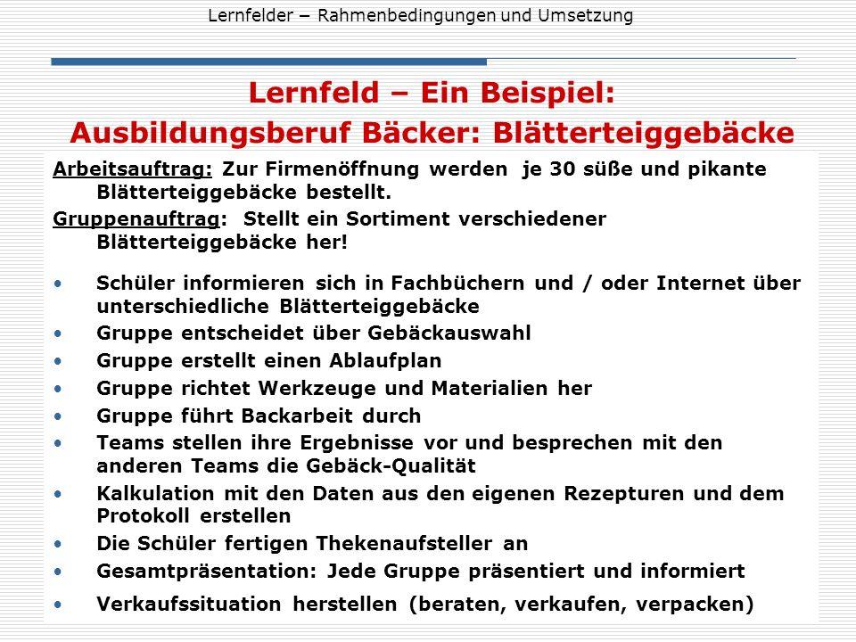 Lernfelder Rahmenbedingungen und Umsetzung Lernfeld – Ein Beispiel: Ausbildungsberuf Bäcker: Blätterteiggebäcke Arbeitsauftrag: Zur Firmenöffnung werd