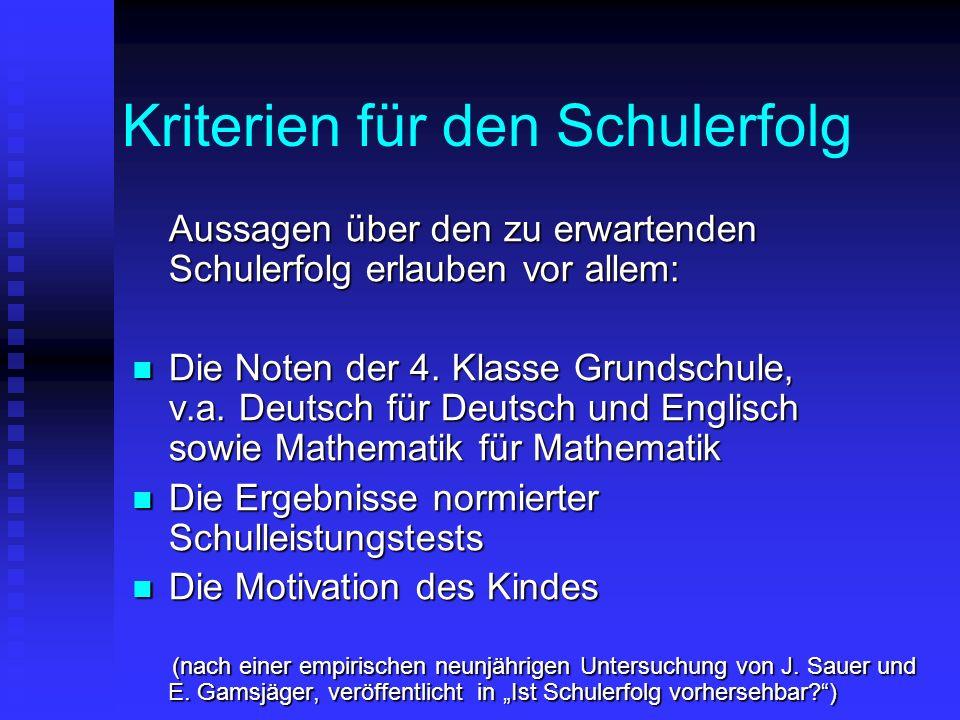 Kriterien für den Schulerfolg Aussagen über den zu erwartenden Schulerfolg erlauben vor allem: Die Noten der 4. Klasse Grundschule, v.a. Deutsch für D