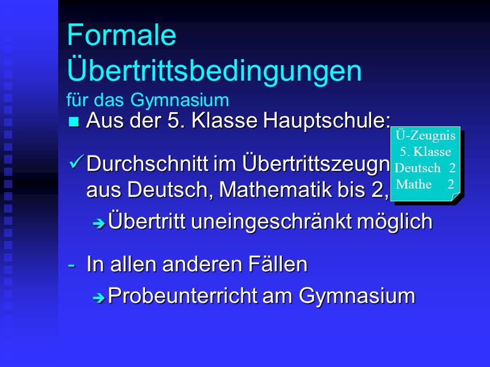 Formale Übertrittsbedingungen für das Gymnasium Aus der 5. Klasse Hauptschule: Aus der 5. Klasse Hauptschule: Durchschnitt im Übertrittszeugnis aus De