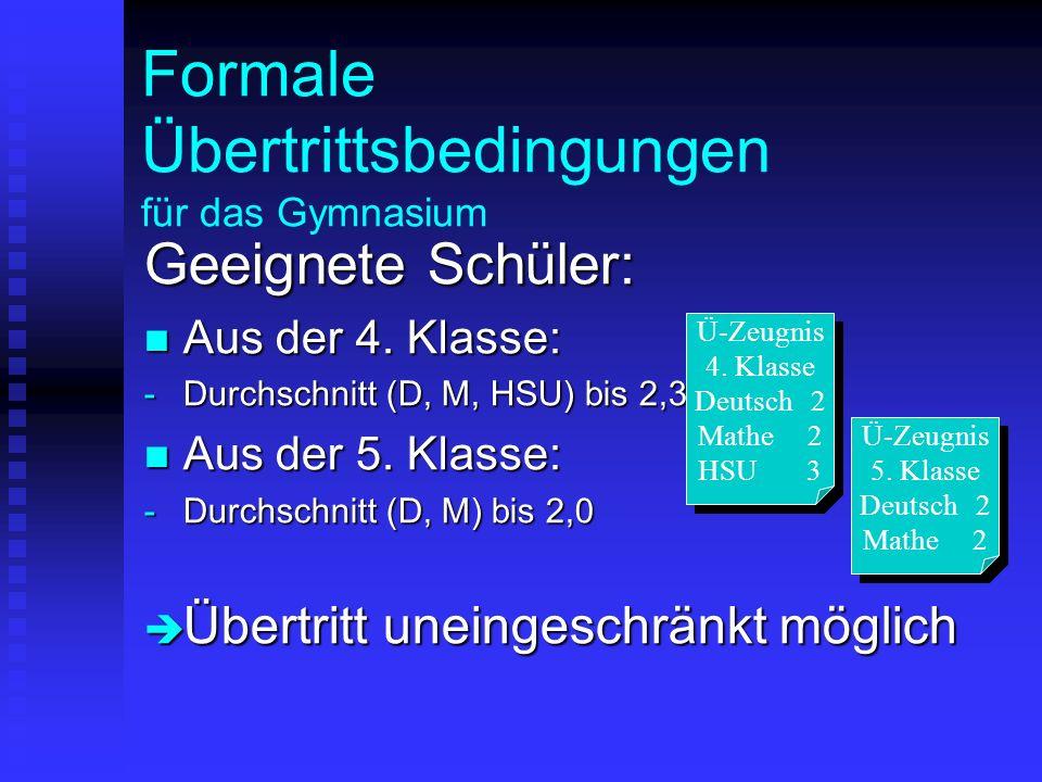 Formale Übertrittsbedingungen für das Gymnasium Geeignete Schüler: Aus der 4. Klasse: Aus der 4. Klasse: -Durchschnitt (D, M, HSU) bis 2,33 Aus der 5.