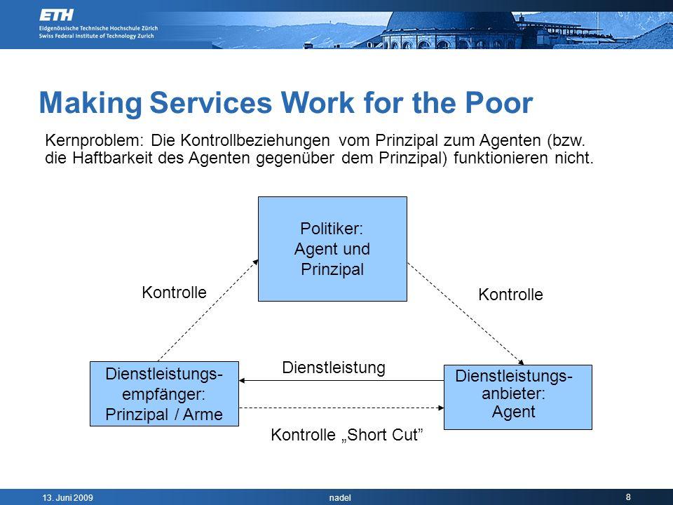13. Juni 2009 nadel 8 Making Services Work for the Poor Politiker: Agent und Prinzipal Dienstleistungs- empfänger: Prinzipal / Arme Dienstleistung Kon