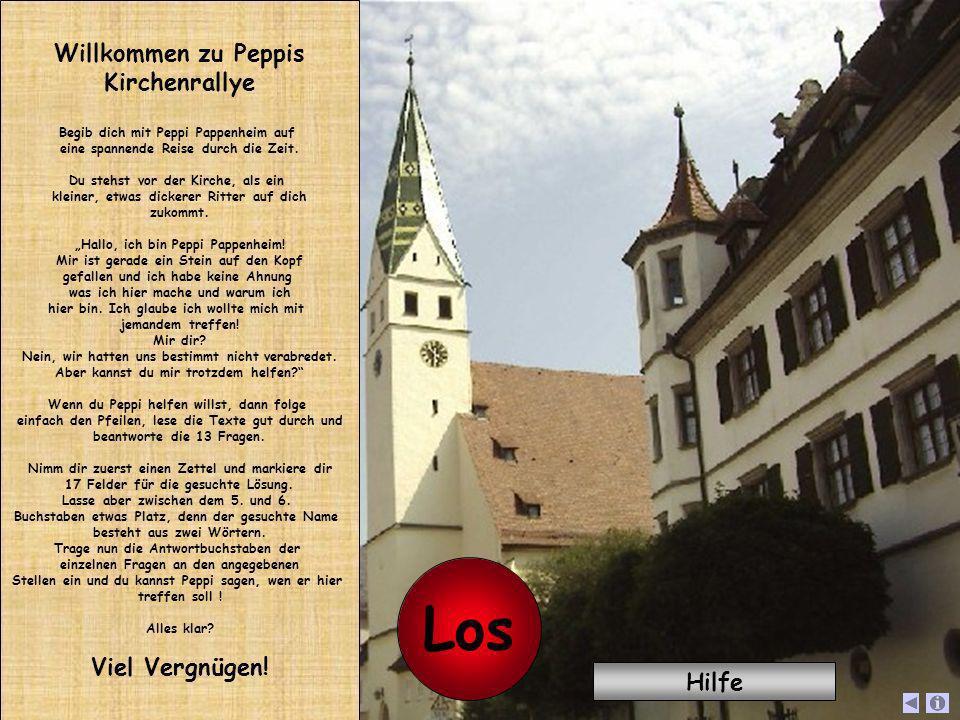 Willkommen zu Peppis Kirchenrallye Begib dich mit Peppi Pappenheim auf eine spannende Reise durch die Zeit. Du stehst vor der Kirche, als ein kleiner,