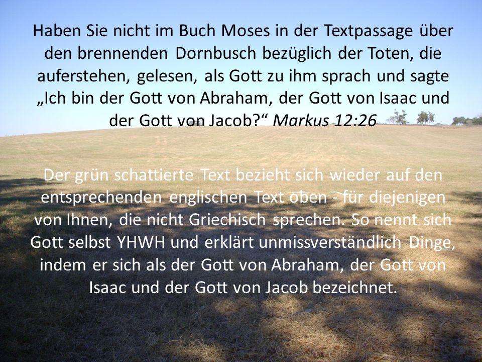 Haben Sie nicht im Buch Moses in der Textpassage über den brennenden Dornbusch bezüglich der Toten, die auferstehen, gelesen, als Gott zu ihm sprach u