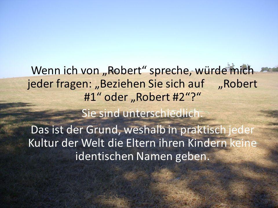 Wenn ich von Robert spreche, würde mich jeder fragen: Beziehen Sie sich auf Robert #1 oder Robert #2? Sie sind unterschiedlich. Das ist der Grund, wes