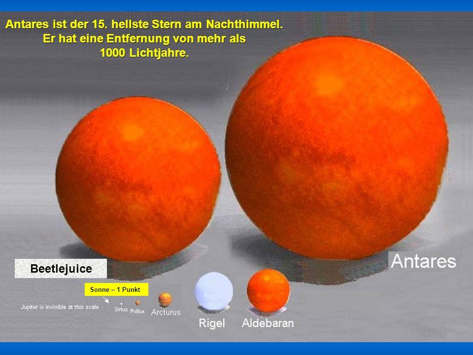 Sonne Sirius Arturus Der 1 Punkt am Pfeil ist Jupiter. Die Erde ist auf dieser Skala nicht darstellbar..