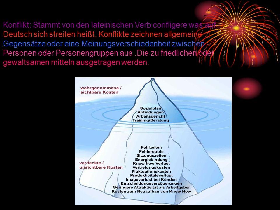Konflikt: Stammt von den lateinischen Verb confligere was auf Deutsch sich streiten heißt. Konflikte zeichnen allgemeine Gegensätze oder eine Meinungs