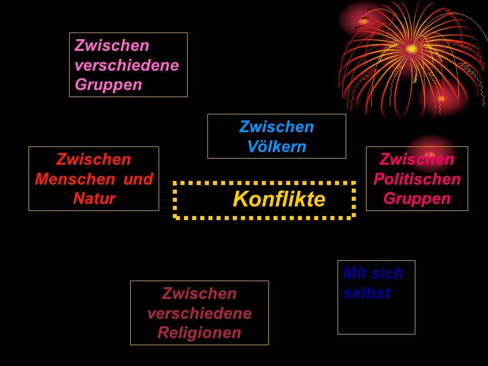 Konflikte Zwischen verschiedene Gruppen Zwischen Völkern Zwischen Politischen Gruppen Mit sich selbst Zwischen verschiedene Religionen Zwischen Mensch