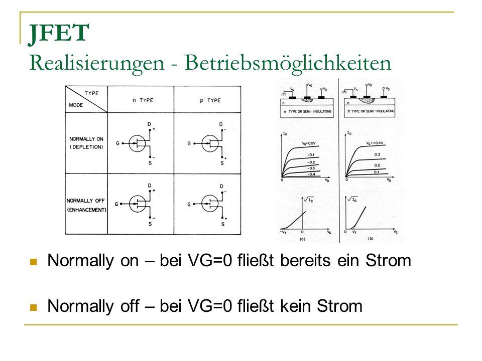 JFET Realisierungen - Betriebsmöglichkeiten Normally on – bei VG=0 fließt bereits ein Strom Normally off – bei VG=0 fließt kein Strom