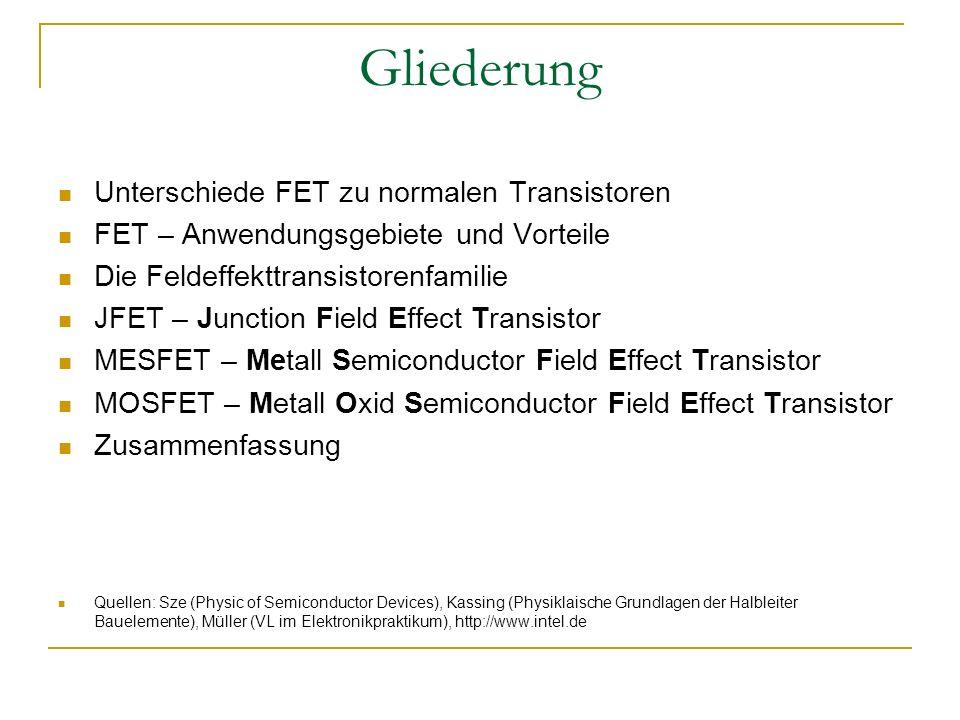 Gliederung Unterschiede FET zu normalen Transistoren FET – Anwendungsgebiete und Vorteile Die Feldeffekttransistorenfamilie JFET – Junction Field Effe