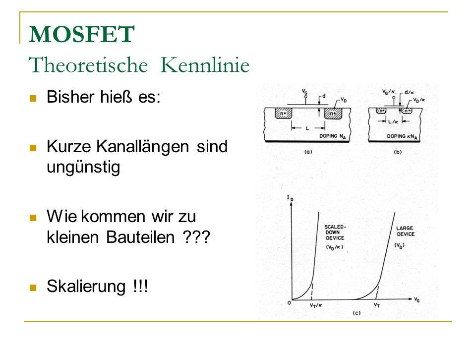 MOSFET Theoretische Kennlinie Bisher hieß es: Kurze Kanallängen sind ungünstig Wie kommen wir zu kleinen Bauteilen ??? Skalierung !!!