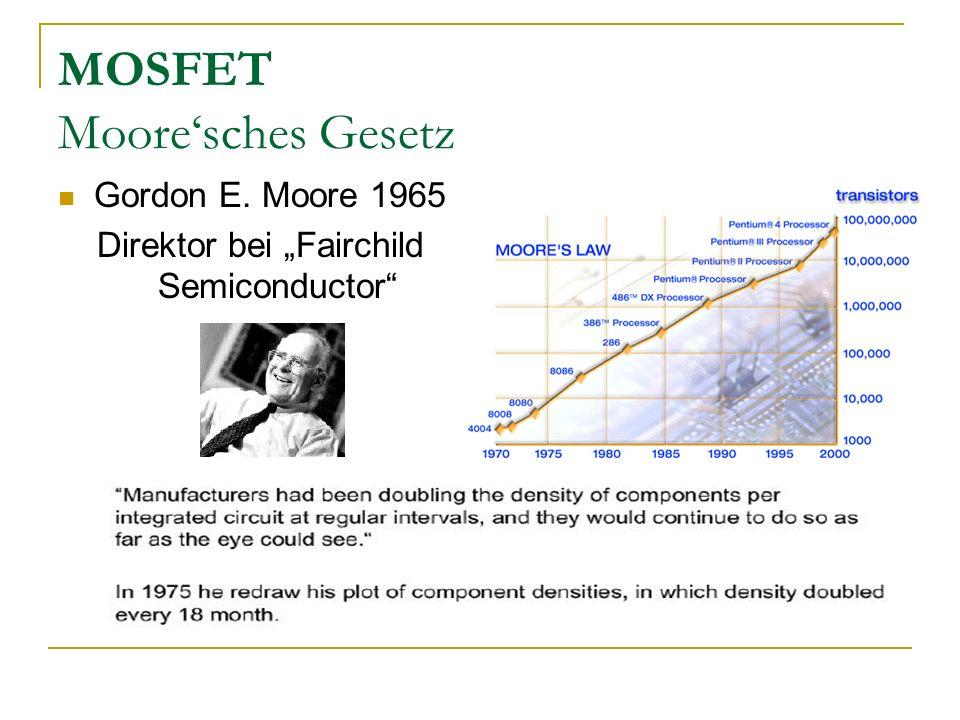 MOSFET Mooresches Gesetz Gordon E. Moore 1965 Direktor bei Fairchild Semiconductor