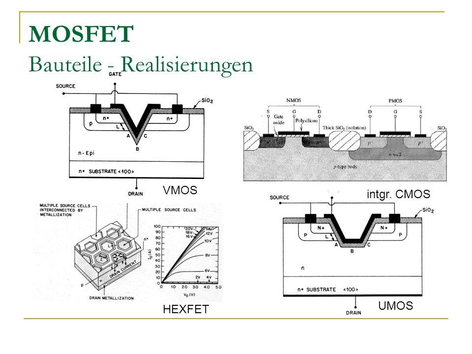 MOSFET Bauteile - Realisierungen VMOS UMOS intgr. CMOS HEXFET