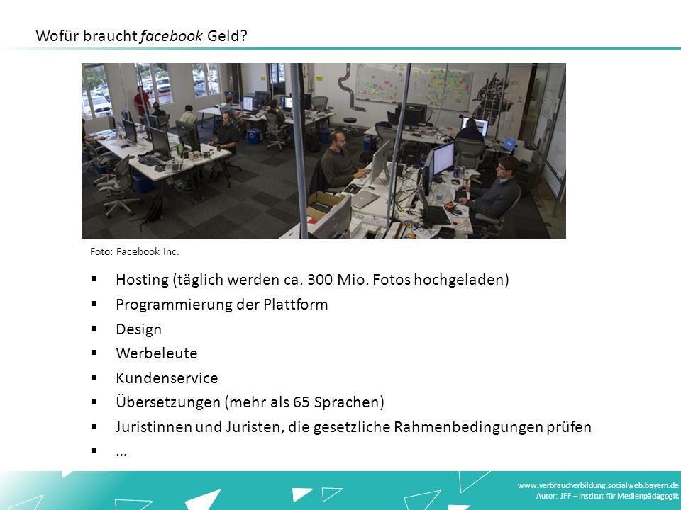 www.verbraucherbildung.socialweb.bayern.de Autor: JFF – Institut für Medienpädagogik Foto: Facebook Inc. Hosting (täglich werden ca. 300 Mio. Fotos ho