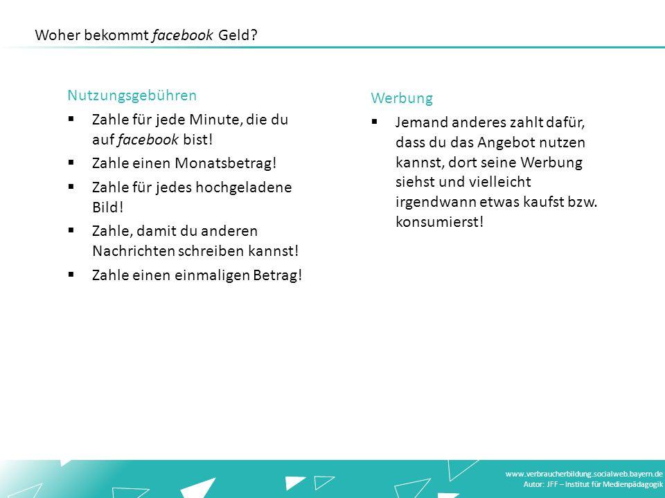 www.verbraucherbildung.socialweb.bayern.de Autor: JFF – Institut für Medienpädagogik Woher bekommt facebook Geld? Werbung Jemand anderes zahlt dafür,