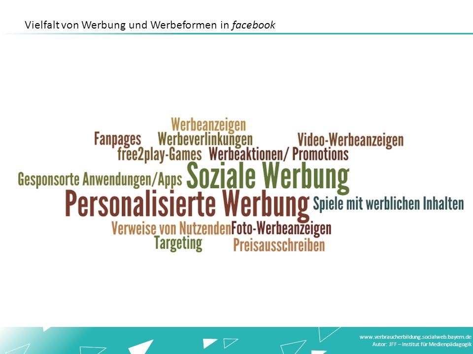 www.verbraucherbildung.socialweb.bayern.de Autor: JFF – Institut für Medienpädagogik Vielfalt von Werbung und Werbeformen in facebook