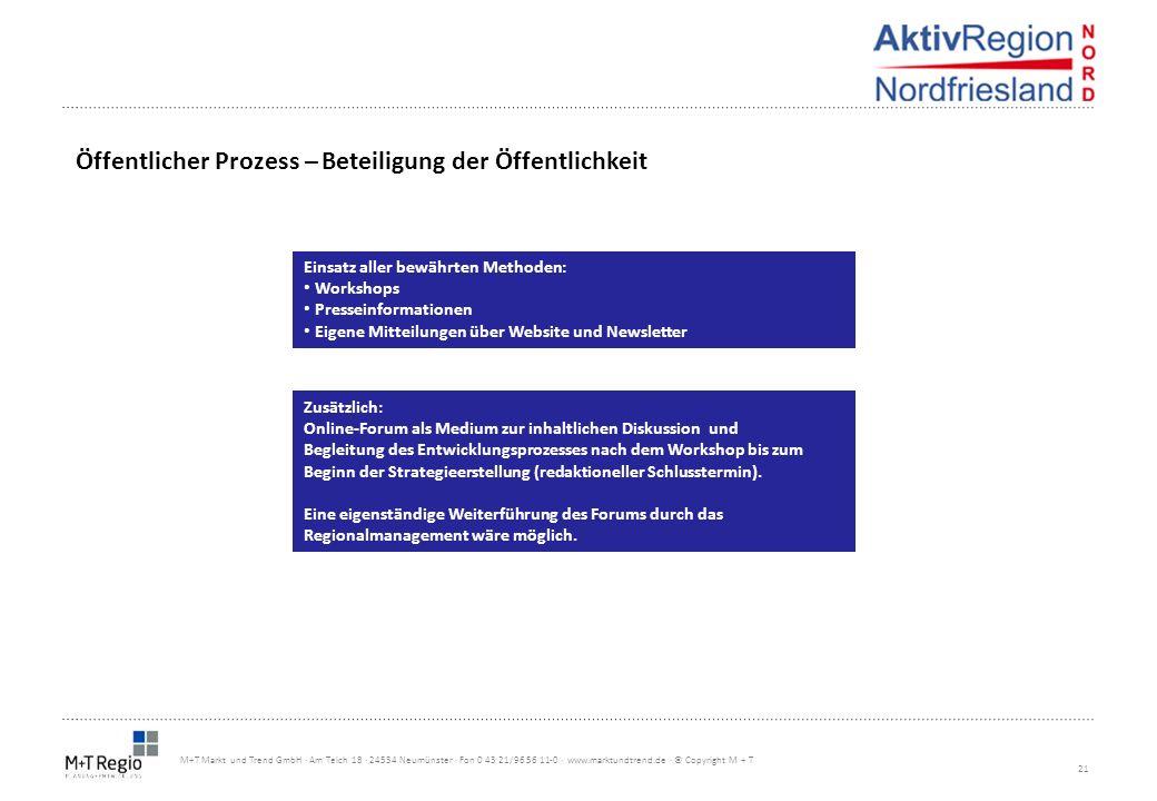 21 M+T Markt und Trend GmbH · Am Teich 18 · 24534 Neumünster · Fon 0 43 21/96 56 11-0 · www.marktundtrend.de · © Copyright M + T Öffentlicher Prozess
