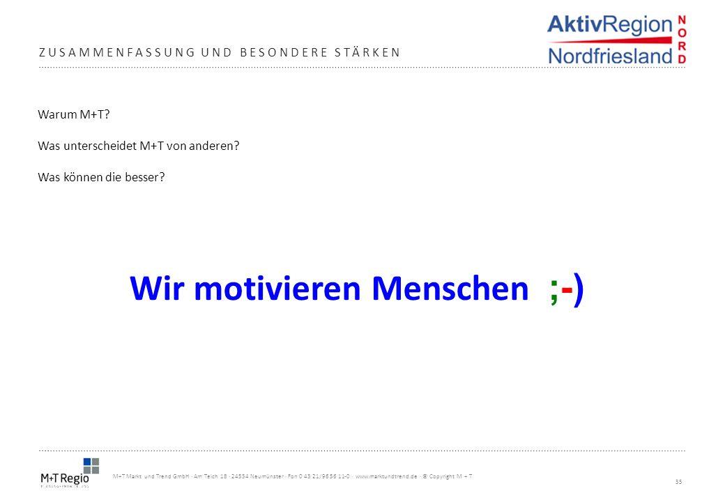 35 M+T Markt und Trend GmbH · Am Teich 18 · 24534 Neumünster · Fon 0 43 21/96 56 11-0 · www.marktundtrend.de · © Copyright M + T Warum M+T? Was unters