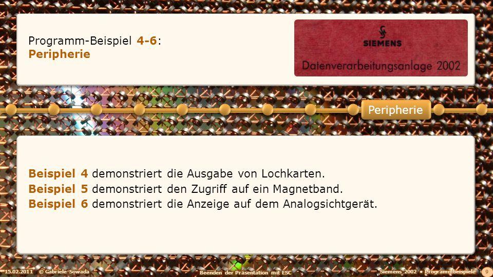 15.02.2011© Gabriele Sowada 9 Peripherie Programm-Beispiel 4-6: Peripherie Beispiel 4 demonstriert die Ausgabe von Lochkarten.