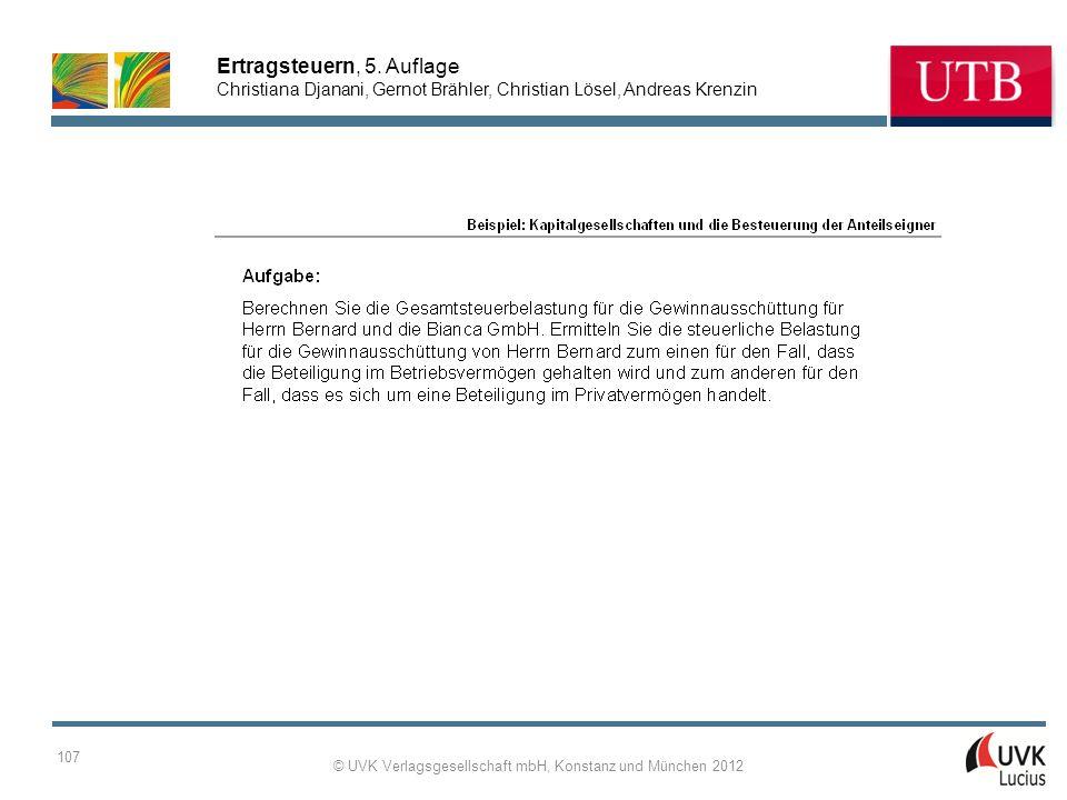 Ertragsteuern, 5. Auflage Christiana Djanani, Gernot Brähler, Christian Lösel, Andreas Krenzin © UVK Verlagsgesellschaft mbH, Konstanz und München 201