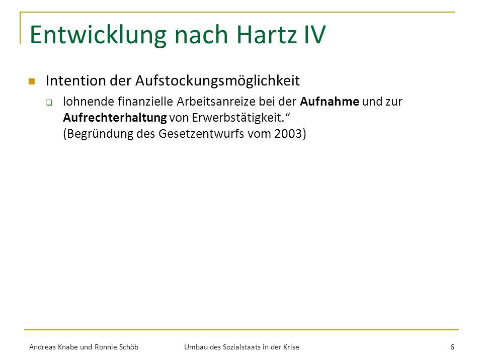 Entwicklung nach Hartz IV Intention der Aufstockungsmöglichkeit lohnende finanzielle Arbeitsanreize bei der Aufnahme und zur Aufrechterhaltung von Erwerbstätigkeit.