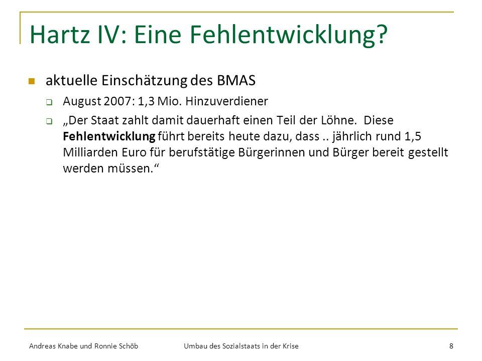 Hartz IV: Eine Fehlentwicklung.aktuelle Einschätzung des BMAS August 2007: 1,3 Mio.