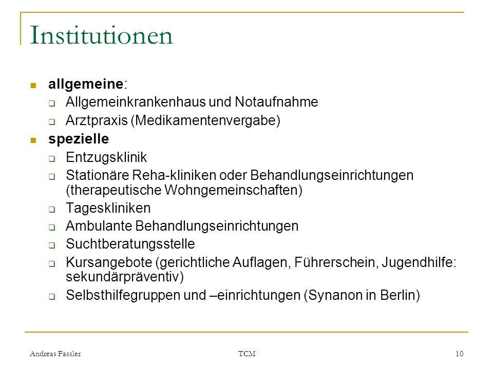 Andreas Fassler TCM 10 Institutionen allgemeine: Allgemeinkrankenhaus und Notaufnahme Arztpraxis (Medikamentenvergabe) spezielle Entzugsklinik Station