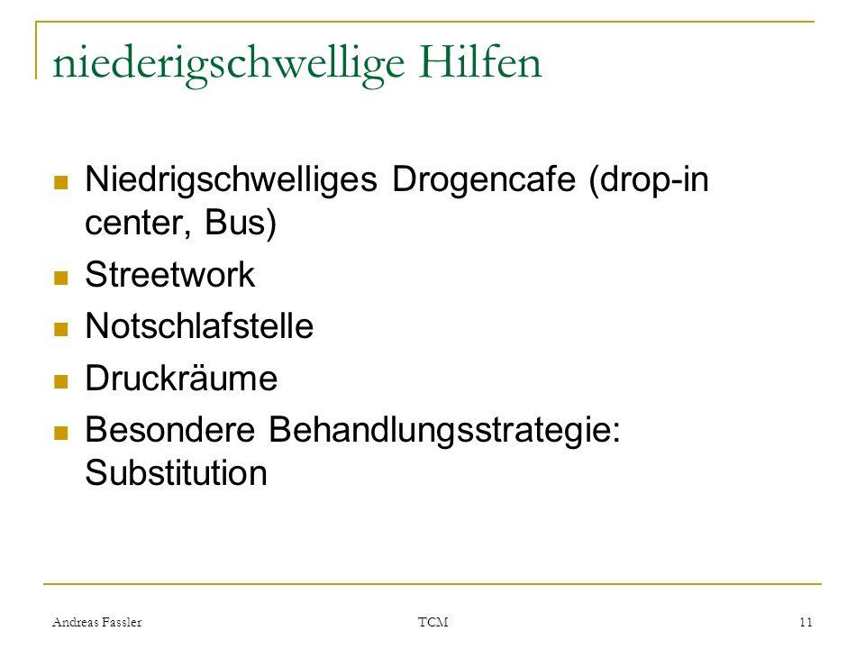 Andreas Fassler TCM 11 niederigschwellige Hilfen Niedrigschwelliges Drogencafe (drop-in center, Bus) Streetwork Notschlafstelle Druckräume Besondere B