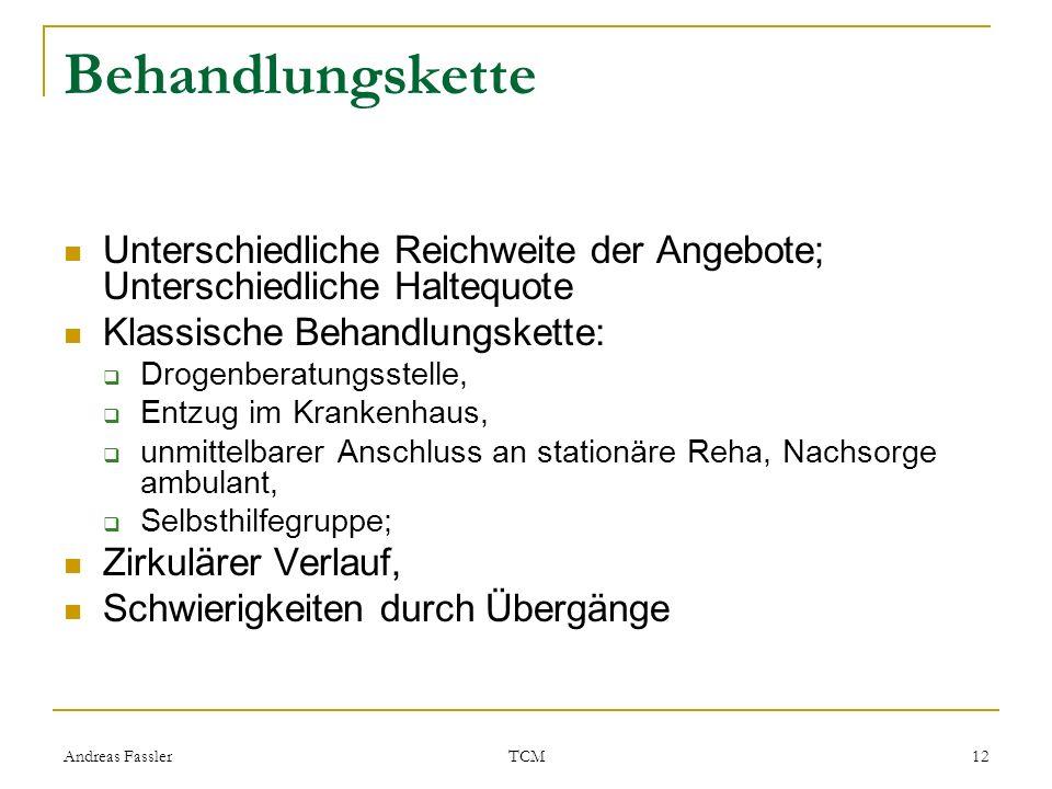 Andreas Fassler TCM 12 Behandlungskette Unterschiedliche Reichweite der Angebote; Unterschiedliche Haltequote Klassische Behandlungskette: Drogenberat