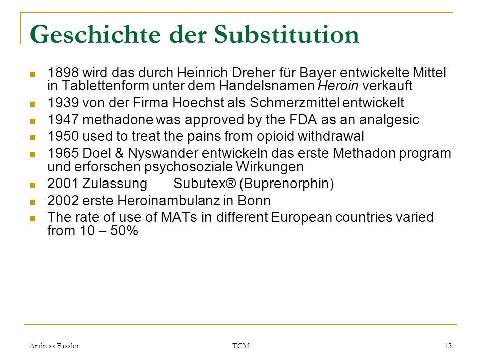 Andreas Fassler TCM 13 Geschichte der Substitution 1898 wird das durch Heinrich Dreher für Bayer entwickelte Mittel in Tablettenform unter dem Handels