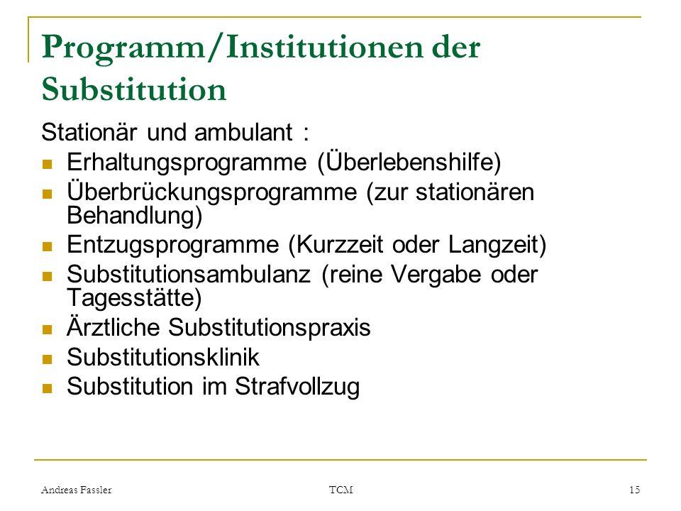 Andreas Fassler TCM 15 Programm/Institutionen der Substitution Stationär und ambulant : Erhaltungsprogramme (Überlebenshilfe) Überbrückungsprogramme (
