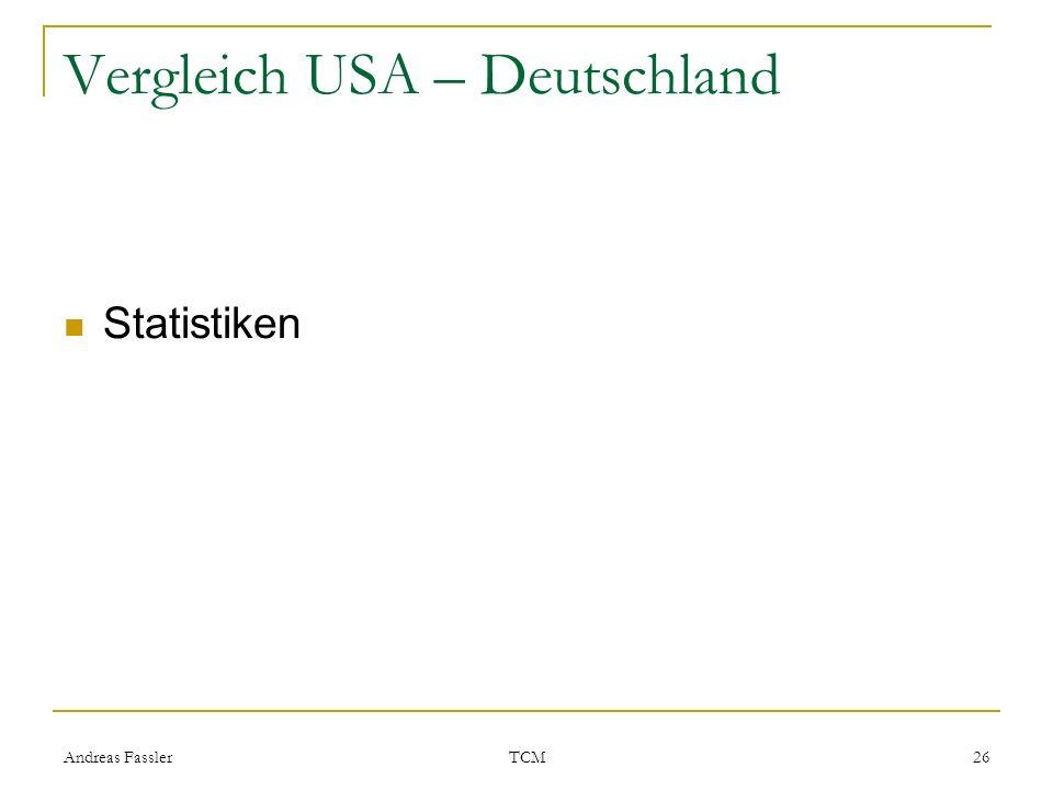 Andreas Fassler TCM 26 Vergleich USA – Deutschland Statistiken