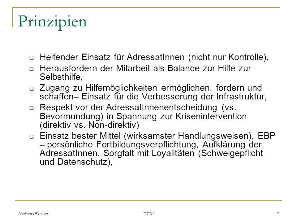 Andreas Fassler TCM 7 Prinzipien Helfender Einsatz für AdressatInnen (nicht nur Kontrolle), Herausfordern der Mitarbeit als Balance zur Hilfe zur Selb