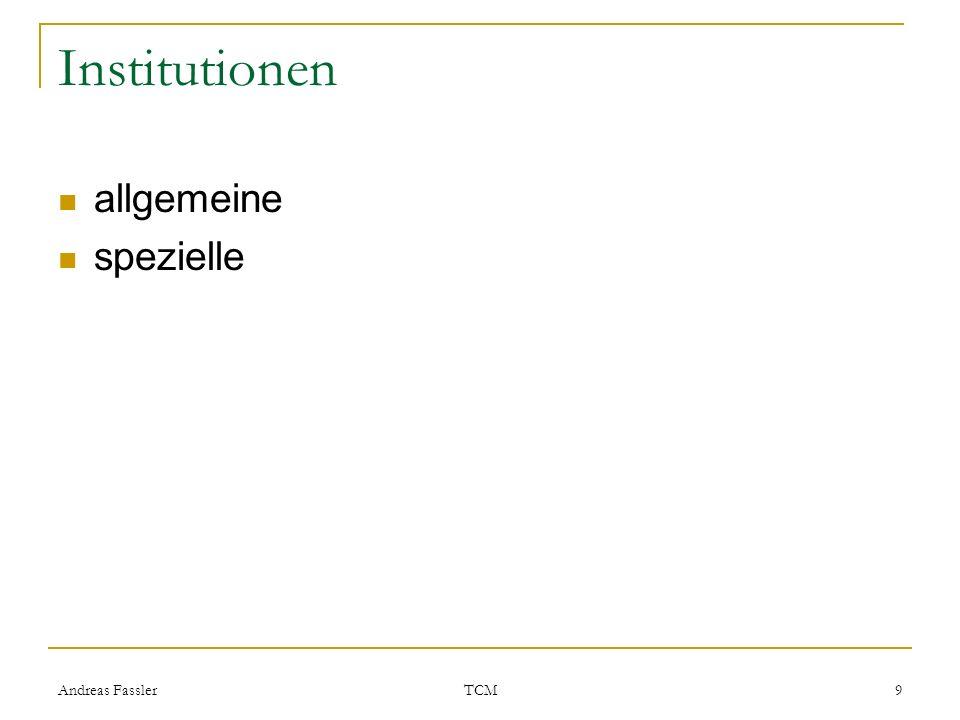 Andreas Fassler TCM 9 Institutionen allgemeine spezielle