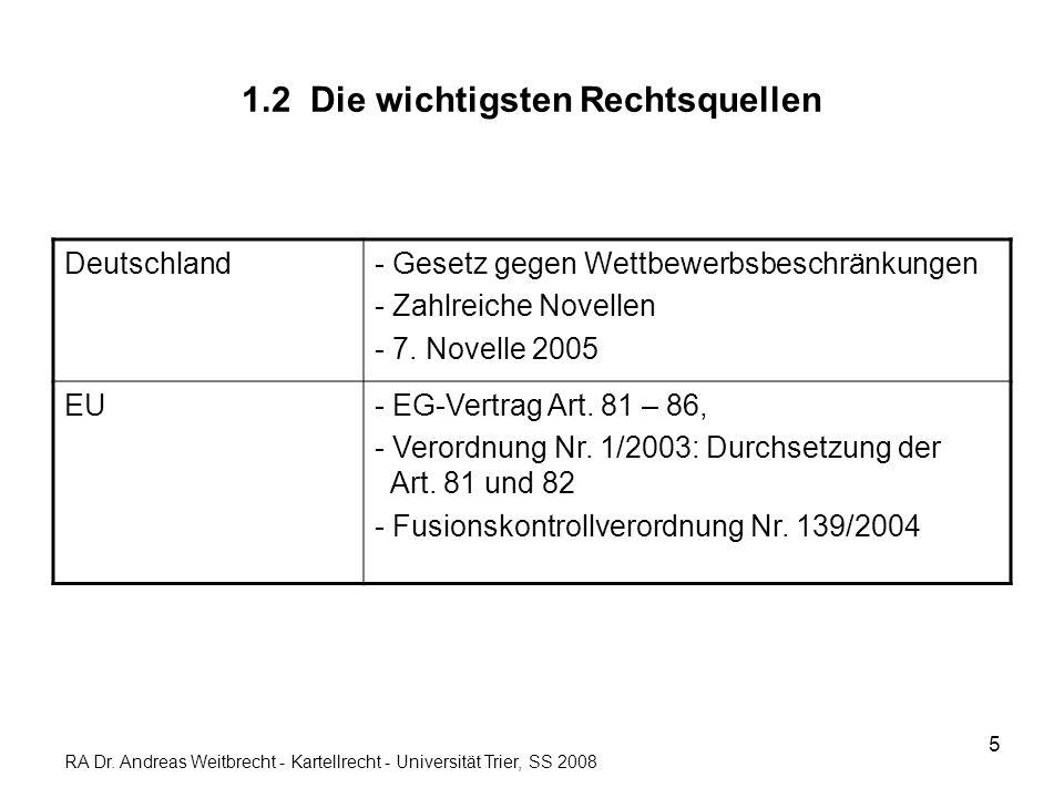 5 1.2 Die wichtigsten Rechtsquellen Deutschland- Gesetz gegen Wettbewerbsbeschränkungen - Zahlreiche Novellen - 7. Novelle 2005 EU- EG-Vertrag Art. 81