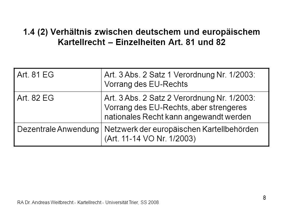 8 1.4 (2) Verhältnis zwischen deutschem und europäischem Kartellrecht – Einzelheiten Art. 81 und 82 Art. 81 EGArt. 3 Abs. 2 Satz 1 Verordnung Nr. 1/20