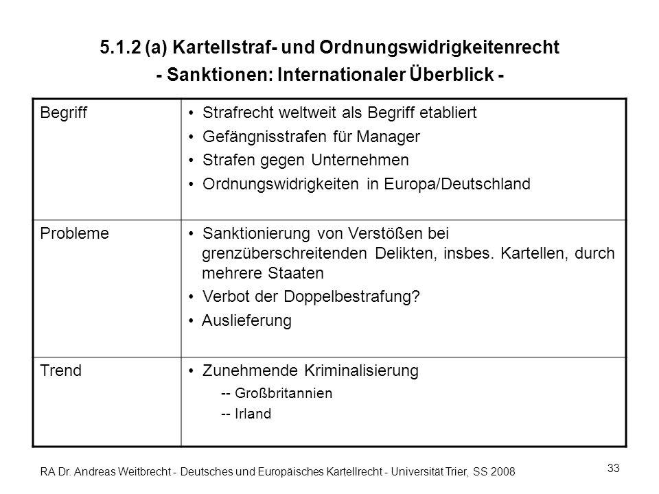 RA Dr. Andreas Weitbrecht - Deutsches und Europäisches Kartellrecht - Universität Trier, SS 2008 5.1.2 (a) Kartellstraf- und Ordnungswidrigkeitenrecht