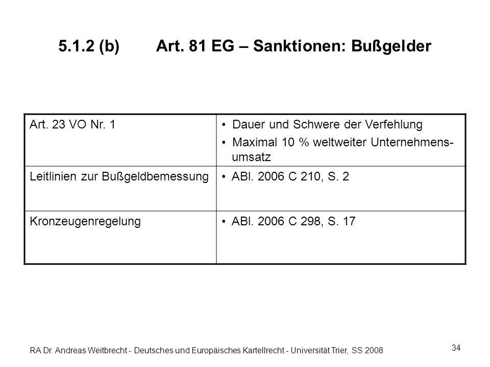 RA Dr. Andreas Weitbrecht - Deutsches und Europäisches Kartellrecht - Universität Trier, SS 2008 5.1.2 (b)Art. 81 EG – Sanktionen: Bußgelder Art. 23 V
