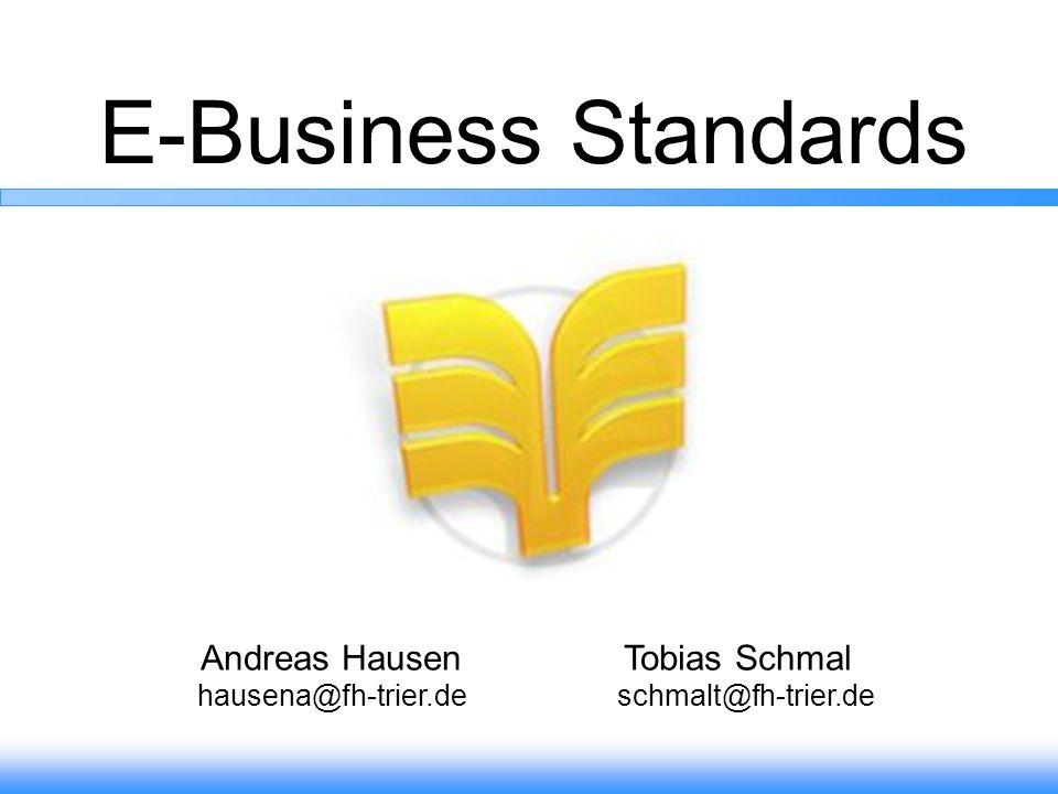 22 E-business-Standards … -Eindeutige Identifizierung der Produkte -Beschreibung und Strukturierung von Produktdaten -Vereinfachte Übertragung des Produktkatalogs -elektronische Übertragungsformate von Geschäftsdokumente -Vereinheitlichung und Organisation der Geschäftsprozesse 7.