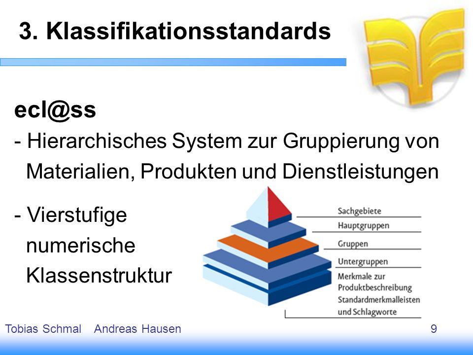 10 ecl@ss - Hierarchisches System zur Gruppierung von Materialien, Produkten und Dienstleistungen - Vierstufige numerische Klassenstruktur 3. Klassifi