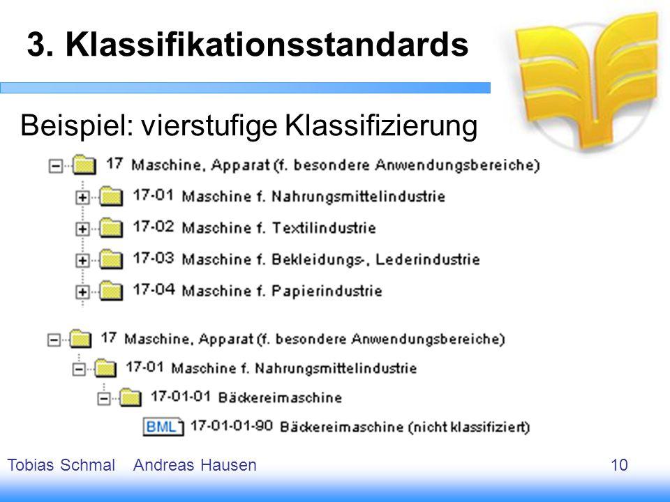 11 Beispiel: vierstufige Klassifizierung 3. Klassifikationsstandards Tobias Schmal Andreas Hausen10