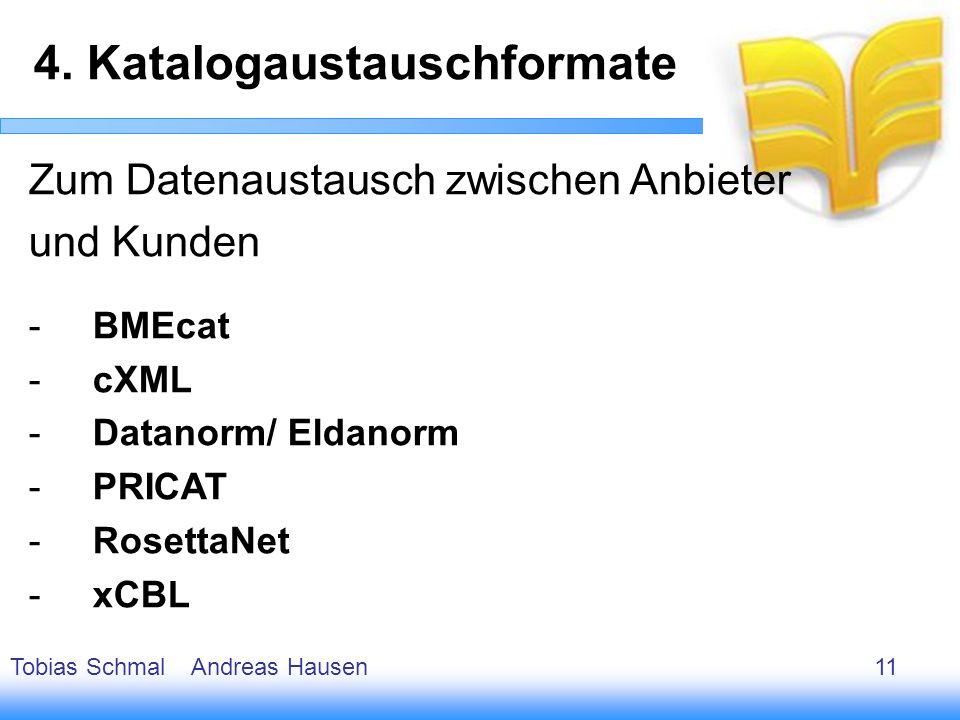 12 Zum Datenaustausch zwischen Anbieter und Kunden -BMEcat -cXML -Datanorm/ Eldanorm -PRICAT -RosettaNet -xCBL 4. Katalogaustauschformate Tobias Schma