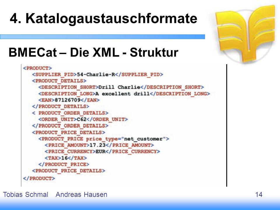15 BMECat – Die XML - Struktur 4. Katalogaustauschformate Tobias Schmal Andreas Hausen14