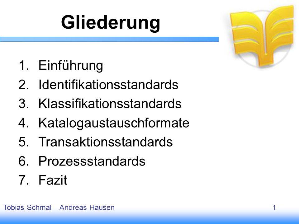 2 1.Einführung 2.Identifikationsstandards 3.Klassifikationsstandards 4.Katalogaustauschformate 5.Transaktionsstandards 6.Prozessstandards 7.Fazit Glie