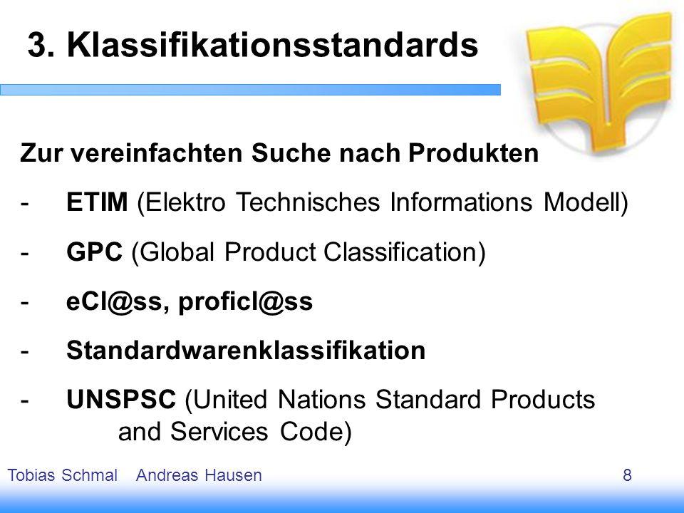 9 Zur vereinfachten Suche nach Produkten -ETIM (Elektro Technisches Informations Modell) -GPC (Global Product Classification) -eCl@ss, proficl@ss -Sta