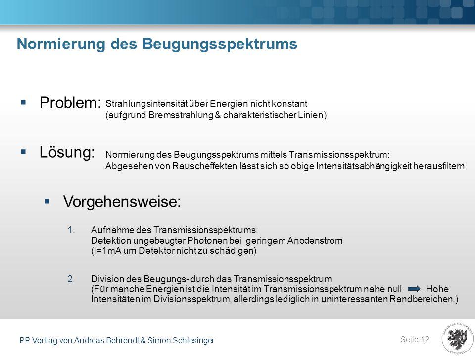 Normierung des Beugungsspektrums Seite 12 PP Vortrag von Andreas Behrendt & Simon Schlesinger Problem: Lösung: Vorgehensweise: 1.Aufnahme des Transmis
