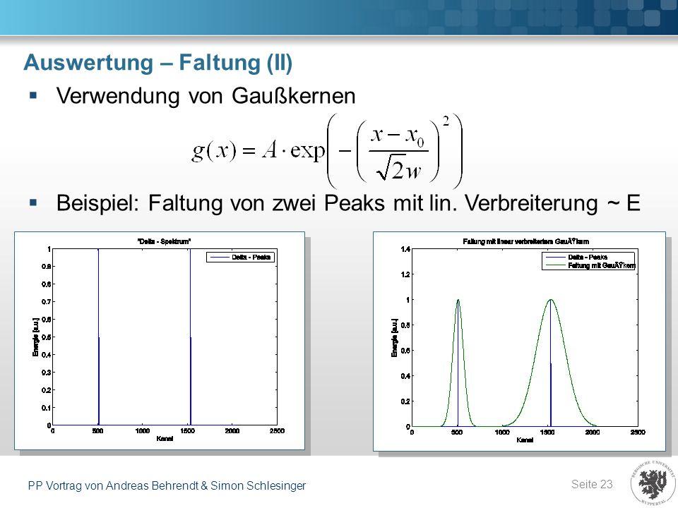 Auswertung – Faltung (II) Seite 23 PP Vortrag von Andreas Behrendt & Simon Schlesinger Verwendung von Gaußkernen Beispiel: Faltung von zwei Peaks mit