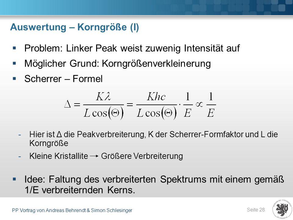 Auswertung – Korngröße (I) Seite 28 PP Vortrag von Andreas Behrendt & Simon Schlesinger Problem: Linker Peak weist zuwenig Intensität auf Möglicher Gr