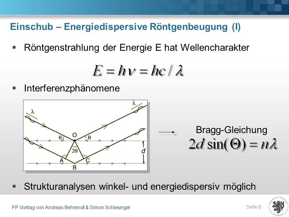 Einschub – Energiedispersive Röntgenbeugung (II) Seite 7 PP Vortrag von Andreas Behrendt & Simon Schlesinger Kristallstruktur festgelegt durch 14 Bravais-Gitter, sortiert nach Symmetrie (kubisch, tetragonal, rhombisch, …) Viele mögliche Streuebenen: Auch bei hohen Symmetrien viele Beugungsreflexe!