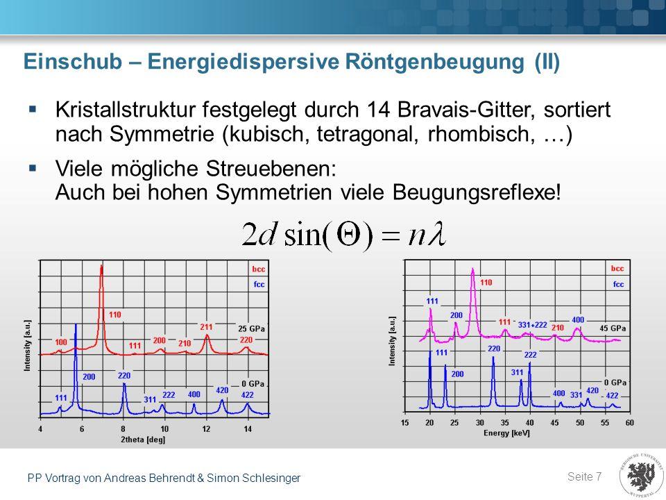 Einschub – Energiedispersive Röntgenbeugung (II) Seite 7 PP Vortrag von Andreas Behrendt & Simon Schlesinger Kristallstruktur festgelegt durch 14 Brav